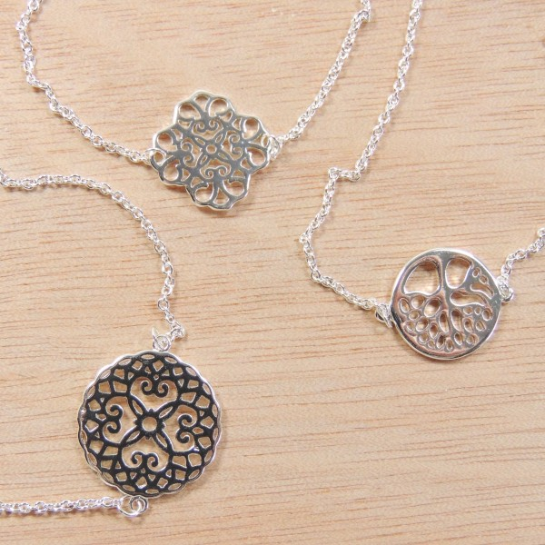 "Silver Plated Link Chain Delicate Mandala Bracelet, Length 7.5"""