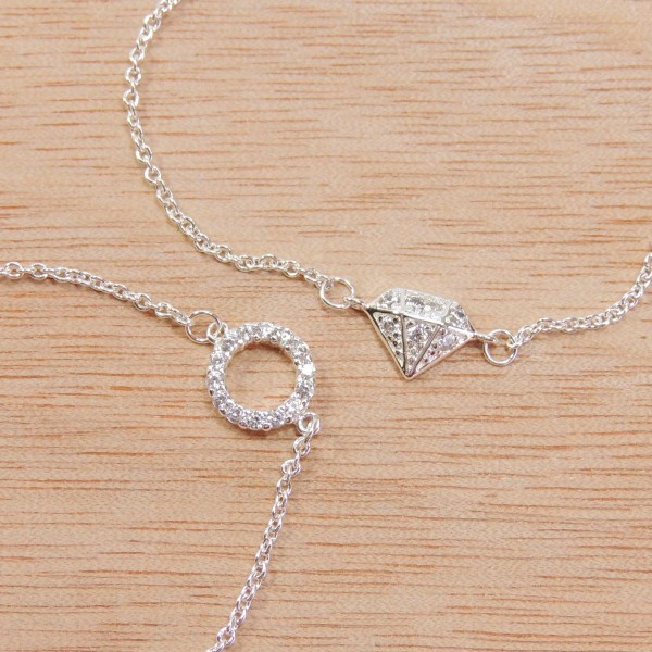 """Silver Plated Link Chain Delicate CZ Bracelet, Length 7.5"""""""