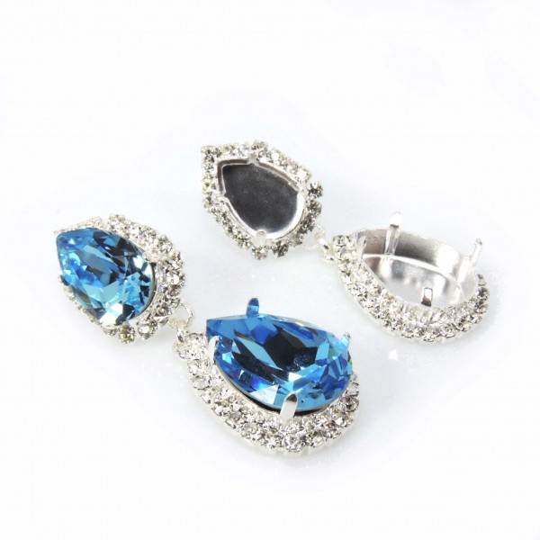 Pear 14x10mm / 18x13mm Rhinestone Earrings Fit Swarovski 4320-Shiny Silver-Crystal