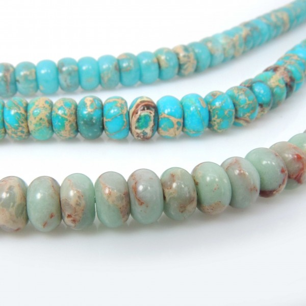 8x5mm Natural Jasper Rondelle Beads 16