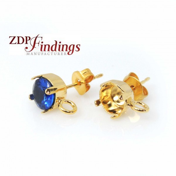 Round Gold Plated Post Earrings Fit Swarovski Rivoli 29ss