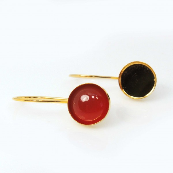 Round 15mm Bezel Cup Gold Filled Kidney wire Earrings