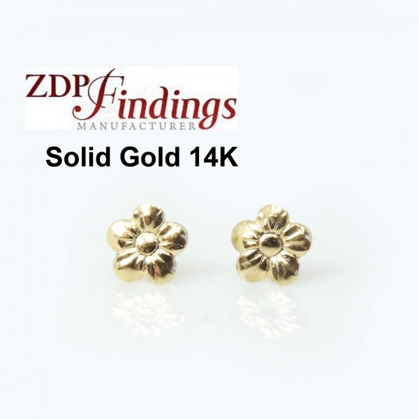 14K Solid gold Flowers post earrings