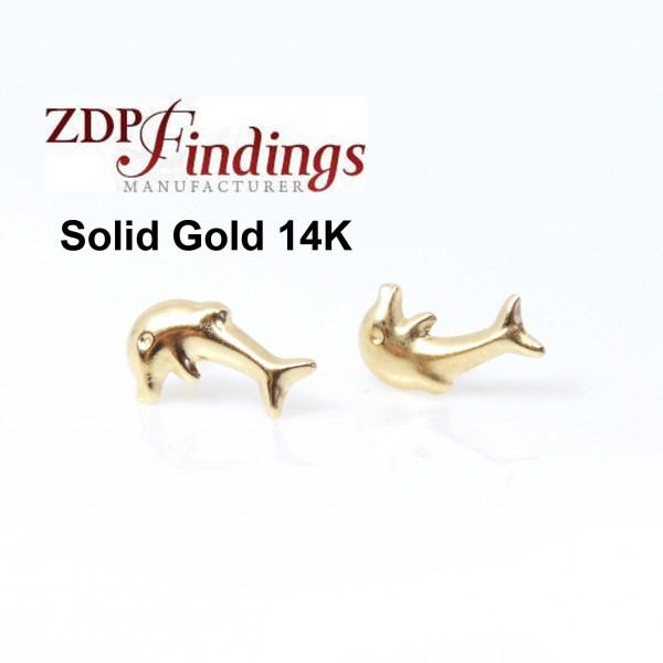 14K Solid gold dolphin post earrings