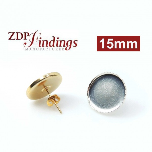 15mm Round Low Bezel Post Earrings