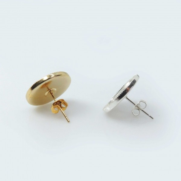 14mm Round Low Bezel Post Earrings
