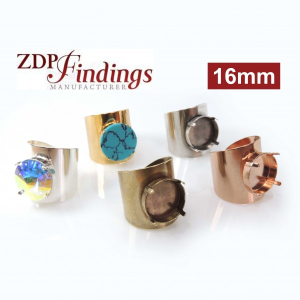 Round 16mm Bezel Ring Setting Fit Swarovski 1122