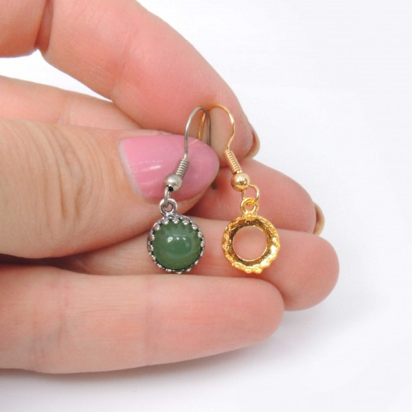 Round 8mm Crown Bezel Ear Wire Earring