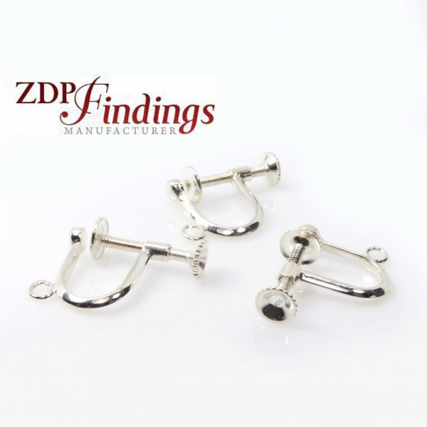 12mm Silver 925 Screw Back Earrings Finding