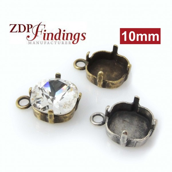 10mm Square Bezel Setting Cup Pendant fit Swarovski 4470