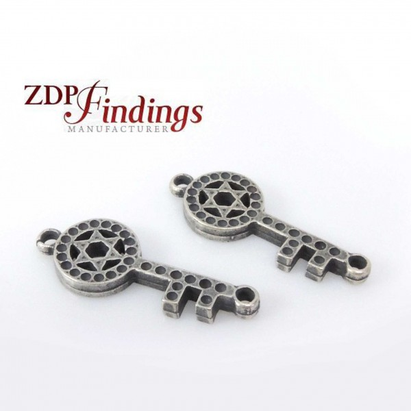 32mm Antique Silver Star Of David Key Connector