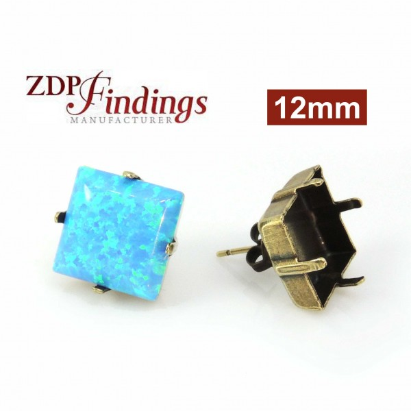 Square 12mm Post Earrings Antique Brass Fit Swarovski 4470