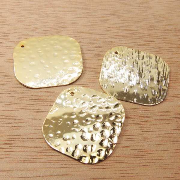 Square 25mm Hammered Disc Charm Pendant