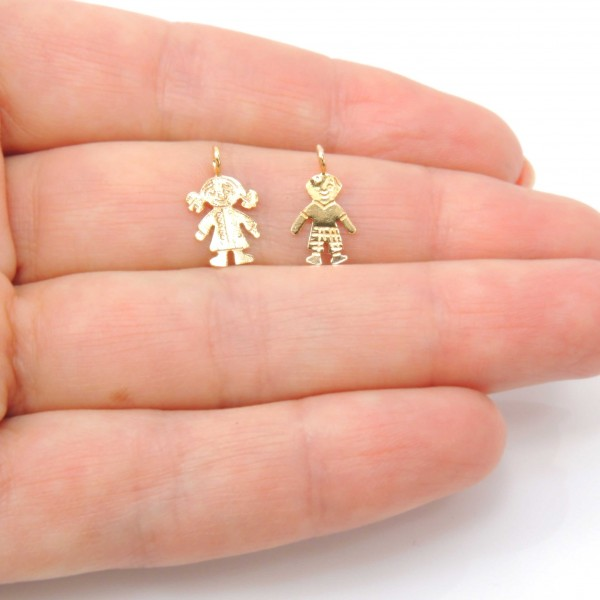 10mm Gold Filled Girl or Boy Charm Pendant