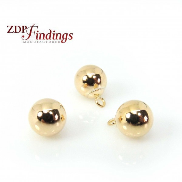 Round 7mm Gold Filled 14K Bead Pendant Charm