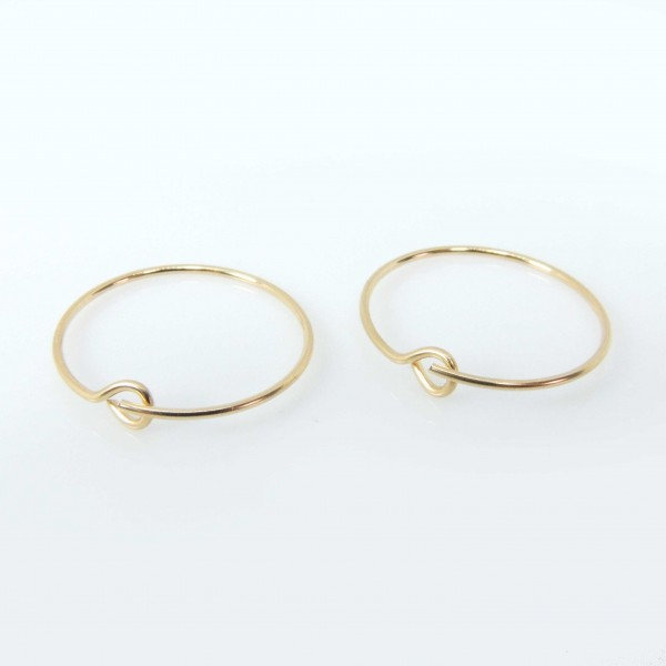 14K Gold Filled Delicate Minimal Wire Hoop Gipsy Earrings