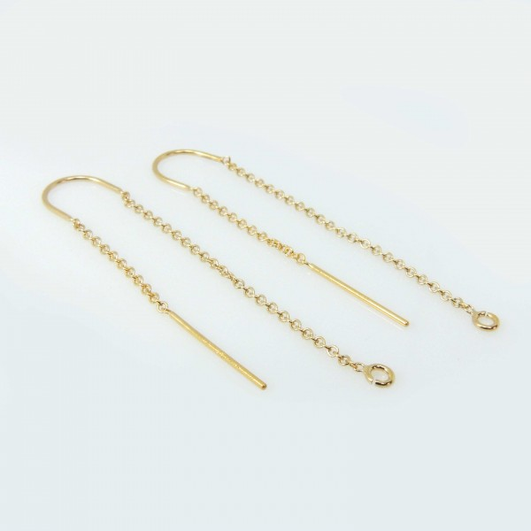 Gold Filled 14K Delicate 50mm Long Chain Dangle Earrings