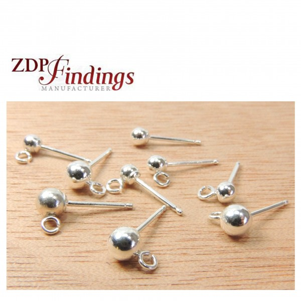 Silver 925 Round 3mm/4mm Post Ball Earrings