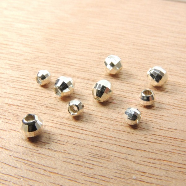 Silver 925 Round 3mm /4mm Laser Cut Disco Beads