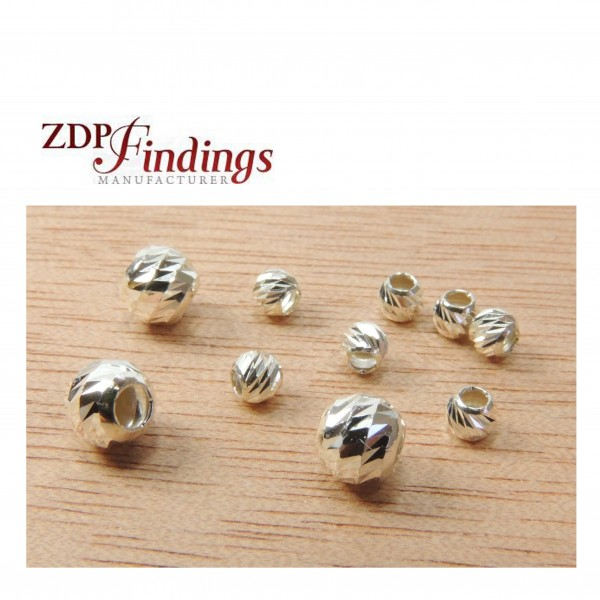 Silver 925 Round 3mm /5mm Laser Cut Disco Beads