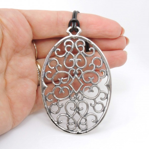 Large Oval 70x50mm Frame Filigree Pendant