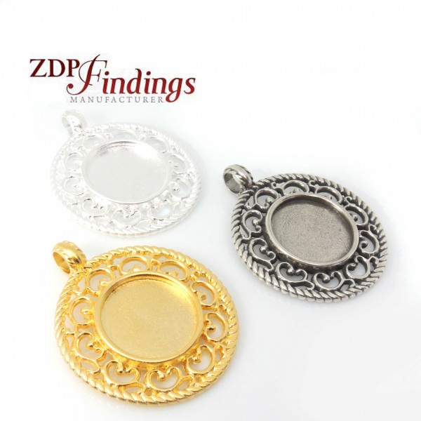 Round 47mm Filigree Pendant Charm Necklace