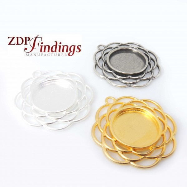Round 47mm Filigree Pendant Charm Necklace