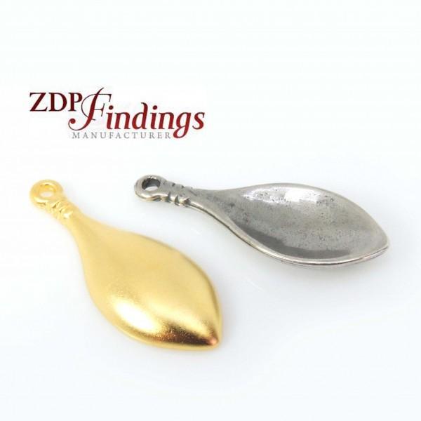 35mm Long Metal Leaf Spoon Pendant