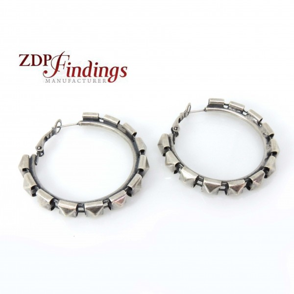 Large 40mm Antique Silver Plated Gipsy Earrings