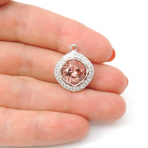 Square 10mm Bezel Pendant Fit Swarovski 4470