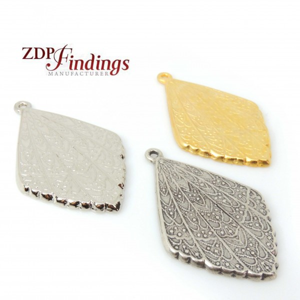 Leaf 45mm Filigree Antique Pendant Charm