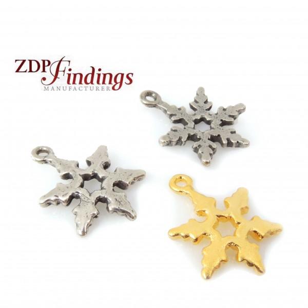 15mm Snowflake Winter Christmas Charm Pendant-Shiny Gold