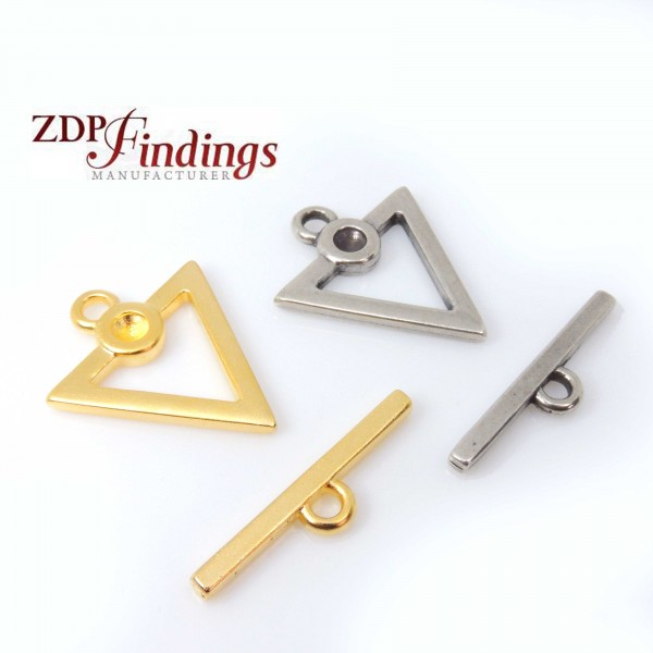 Triangle 25mm Toggle Clasp Lock Fit 4mm Crystal