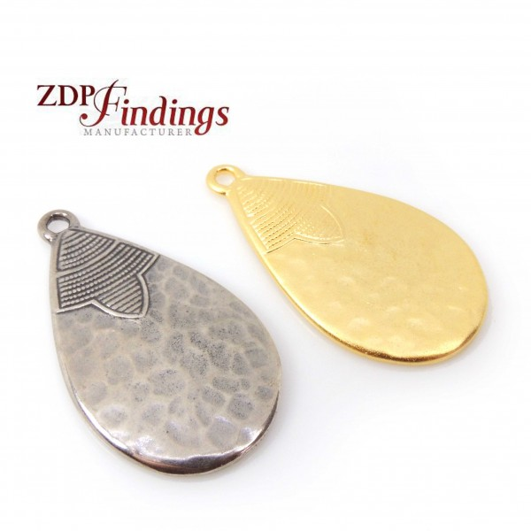 Large Pear 40mm Hammered Antique Pendant Charm