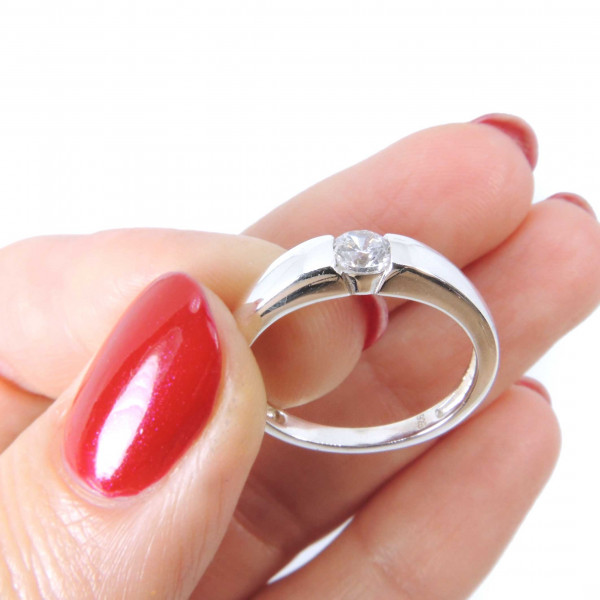 Solitaire Silver 925 Zirconia CZ Crystal Ring -7