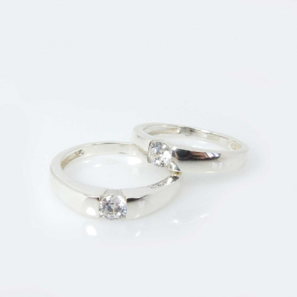 Solitaire Silver 925 Zirconia CZ Crystal Ring -8