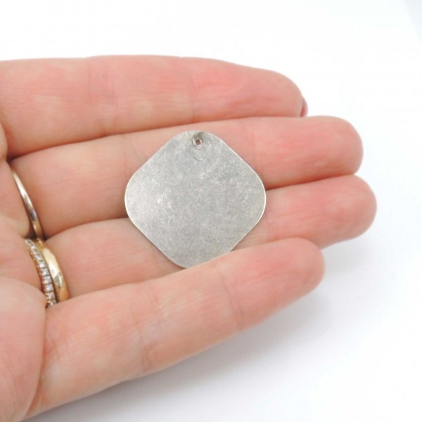 Square 25mm Plain Disc Charm Pendant