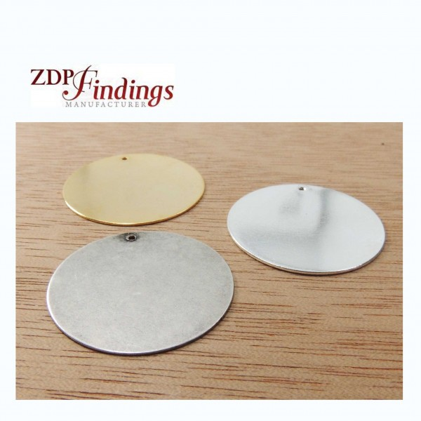 Round 26mm Plain Disc Charm Pendant