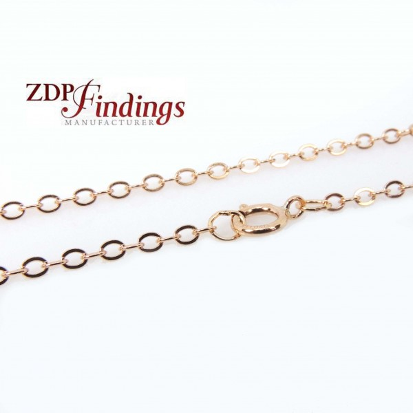 2mm 14k Rose Gold Filled Flat Cable Chain 17""