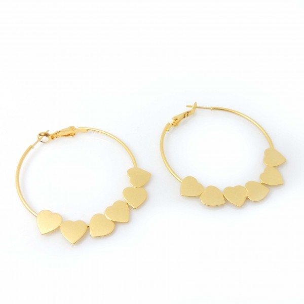 Large 40mm Matte Gold Plated Hearts Gipsy Earrings
