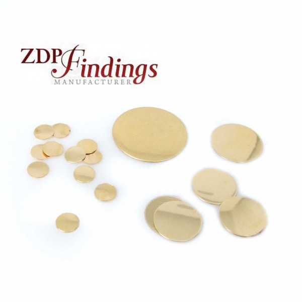 14K Gold Filled Round Shiny Simple Plain Disc