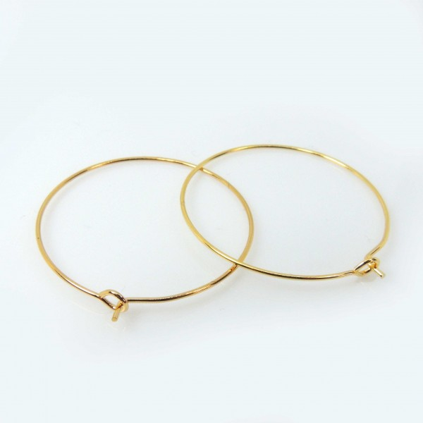 Large 30mm Gold Plated Wire Gipsy Earrings