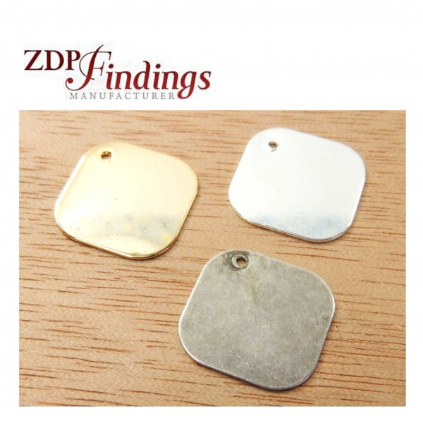 Square 14mm Plain Disc Charm Pendant