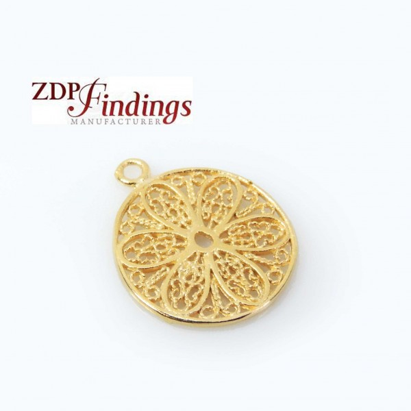 Micron 14K Gold Plated 15mm Round Floral Filigree Charm