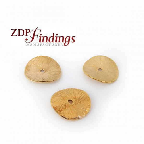 14K Gold Filled Wavy Flat 10mm Round Disc