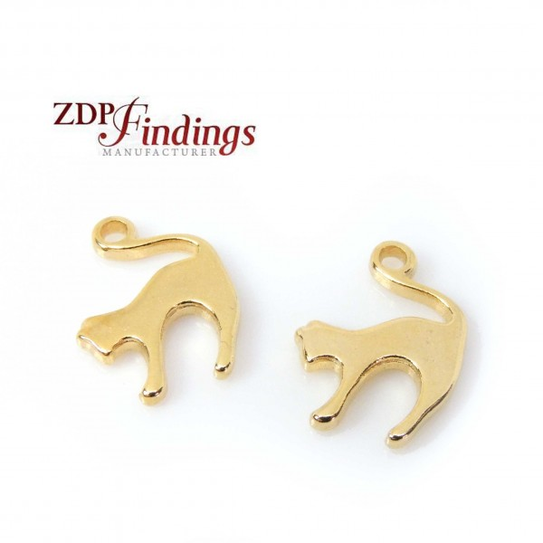14K Micron Gold Plating 18x12mm Cat Charm