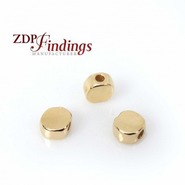 14K Thick Micron Gold Plating 6mm Flat Beads