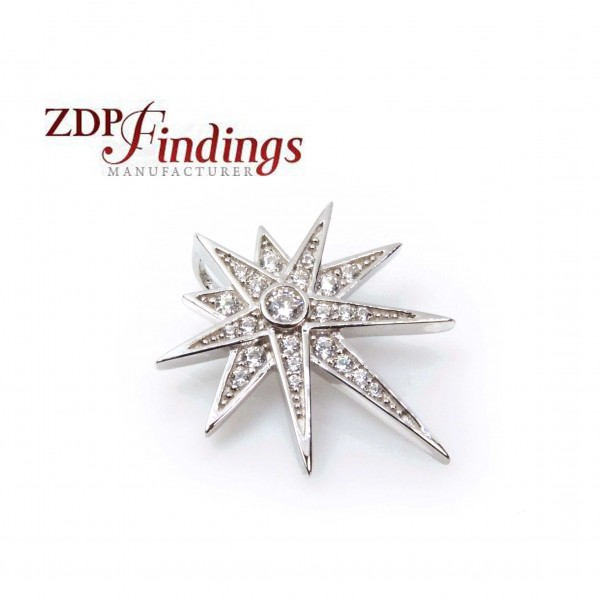 24x20mm Silver 925 Zirconia North Star Pendant