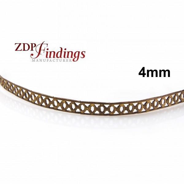 4mm Width Brass Gallery Pattern Wire, 24 inch