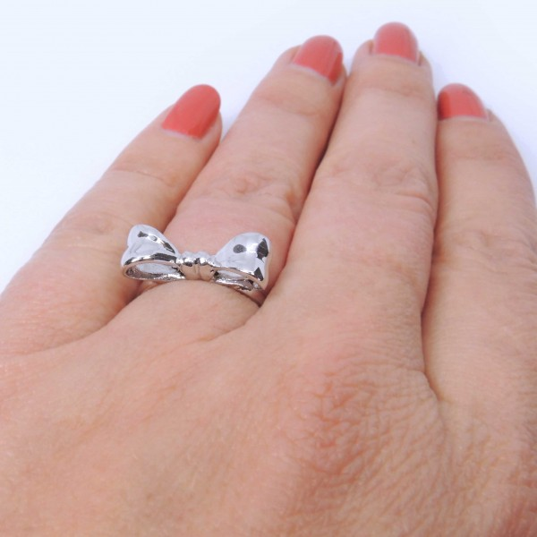 Silver 925 Bow Stacking Ring, Size 6.5